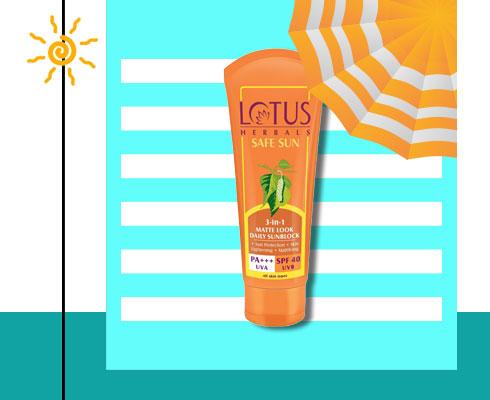 sun cream for oily skin- Lotus Herbals Safe Sun 3-In-1 Matte-Look Daily Sun Block Pa+++ Spf- 40