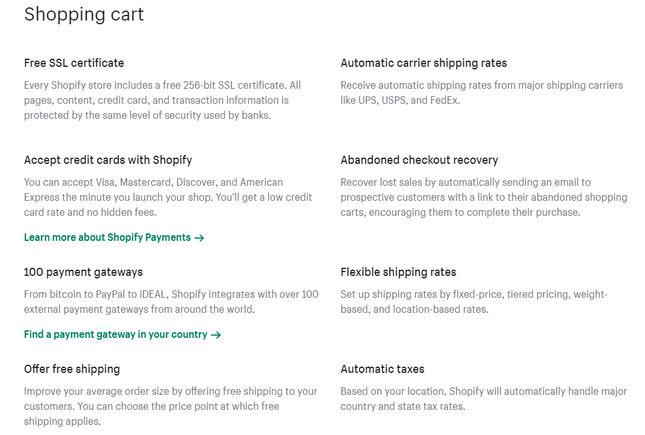 features of Shopify vs godaddy