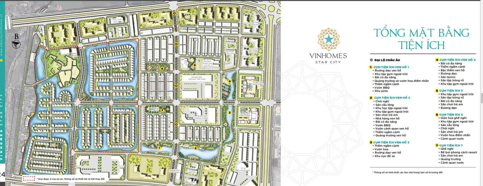 Tổng thể mặt bằng tiện ích dự án Vinhomes Star City