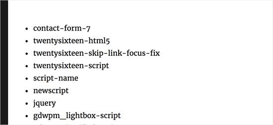 Hiển thị danh sách các xử lý tập lệnh plugin trong WordPress