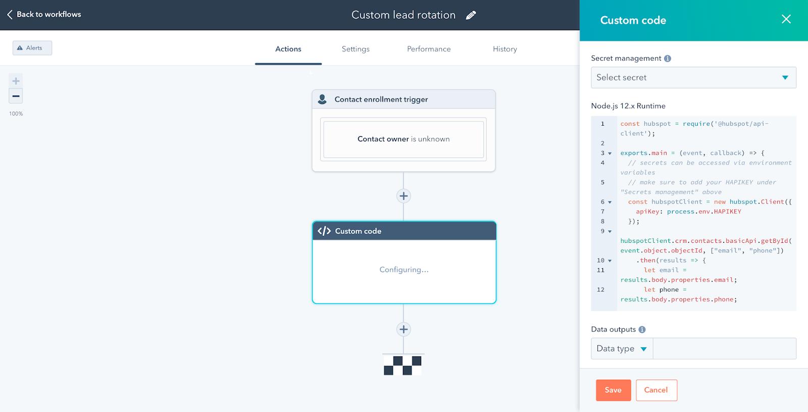 A custom code block in HubSpot Operations Hub