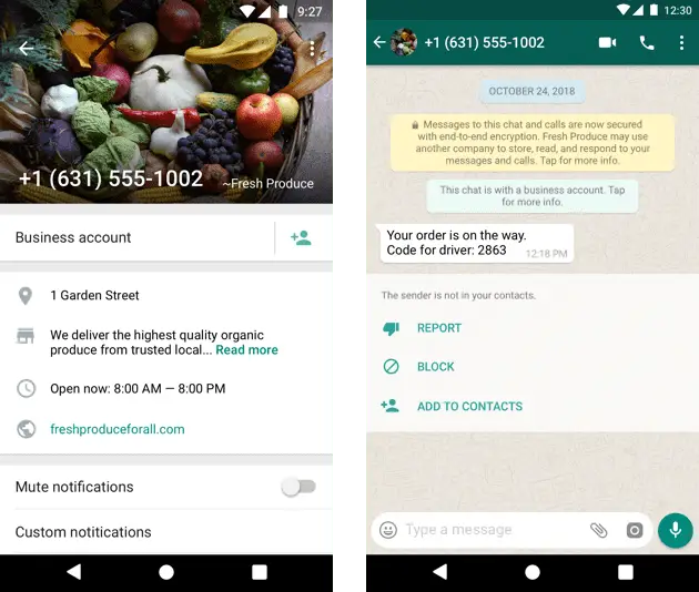 How does an un-verified WhatsApp Business account appear to a customer