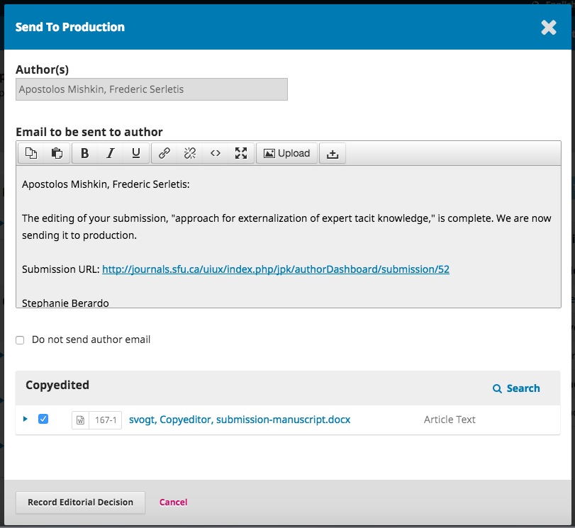 The Send to Production window with notification to the author.
