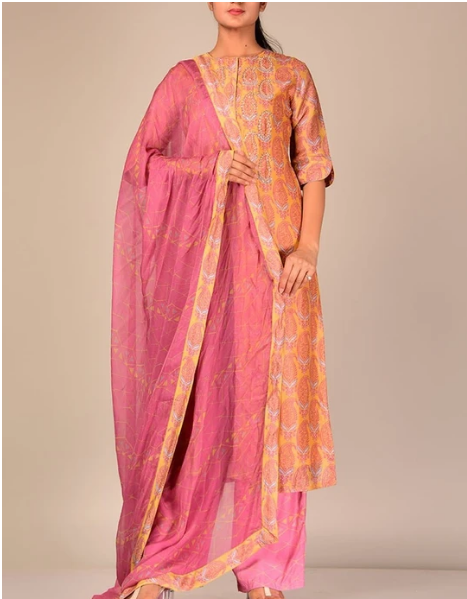 Yellow Silk Blend Kurta Set with Contrast Dupatta