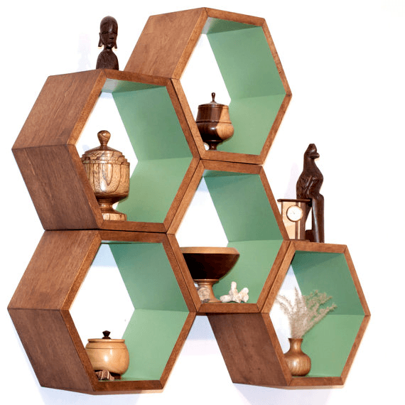 Hexagonal Shelves: These 50 Woodworking Projects That Sell Online will help you make some money.
