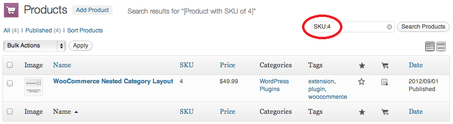 WooCommerce SKU Search