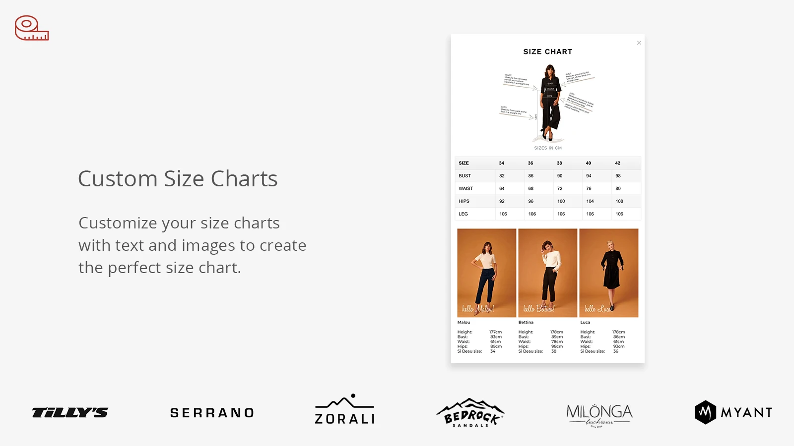 ideal Shopify size chart app