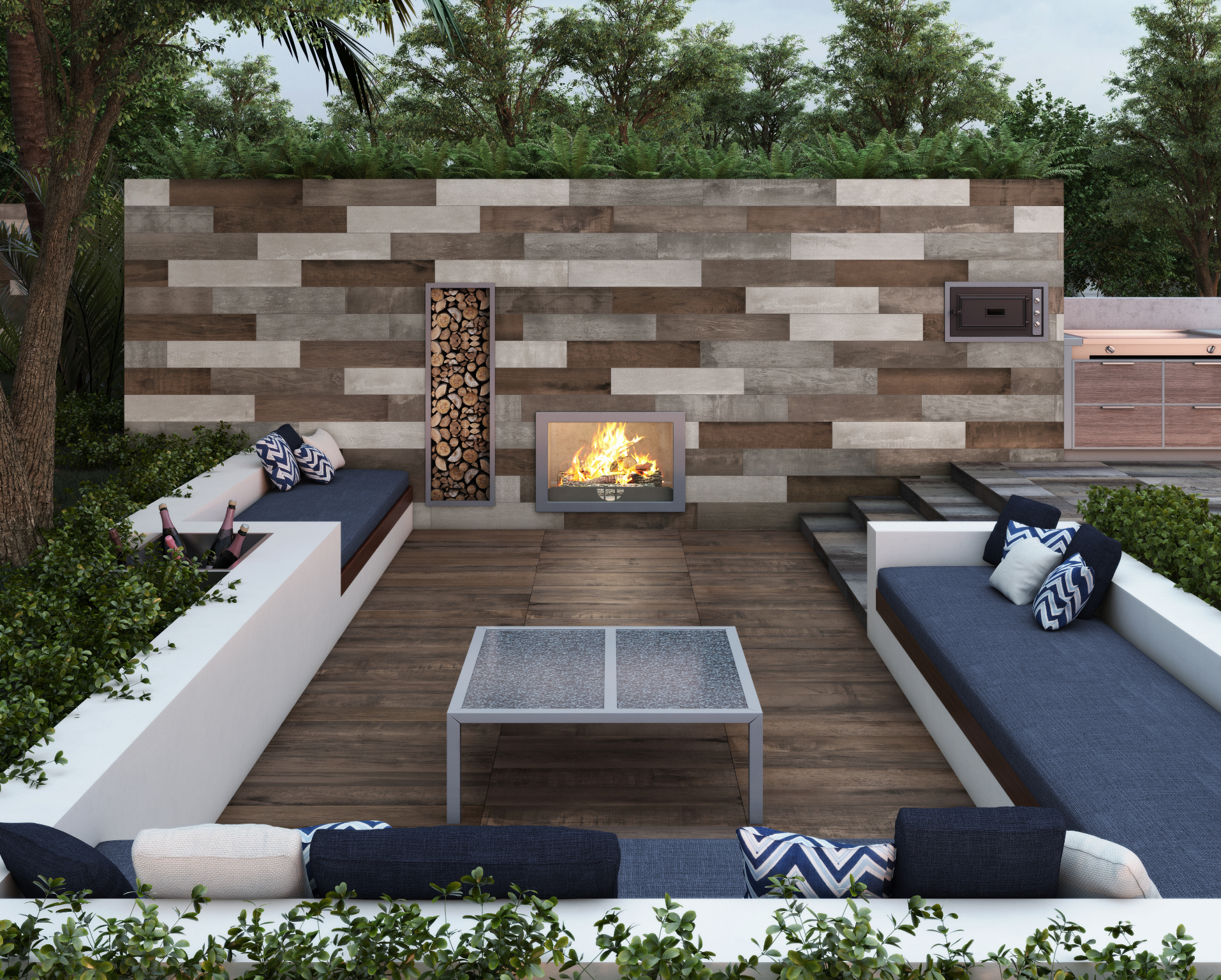 Wood-look tile in an outdoor kitchen