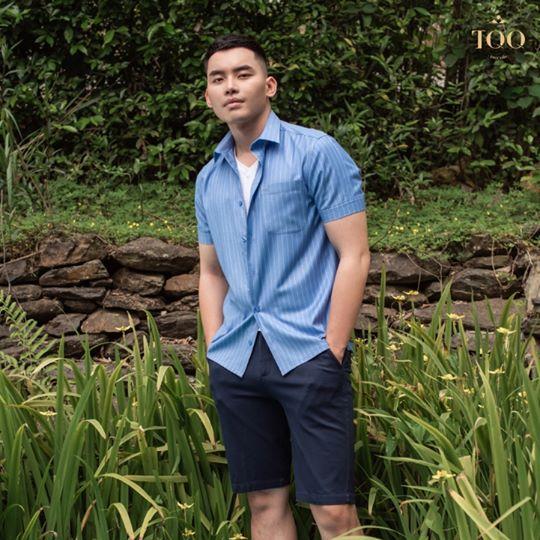 Mặc áo sơ mi nam ngắn tay có túi kết hợp với quần sooc