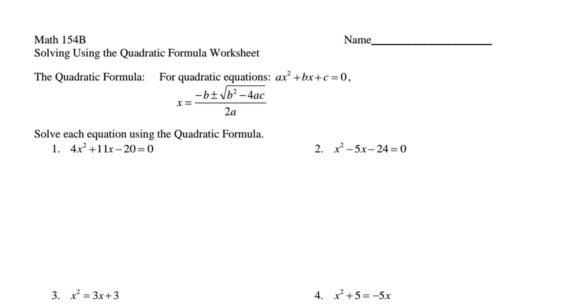 Collection of Solving Quadratic Equations By Formula Worksheet Key – Solving Quadratic Equations Worksheet