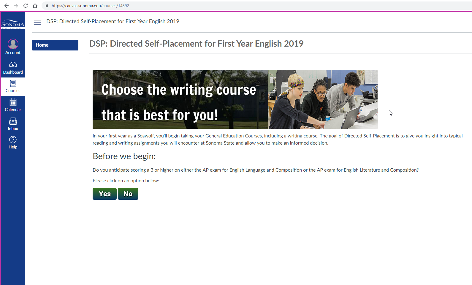Directed Self-Placement at SSU | English Department at