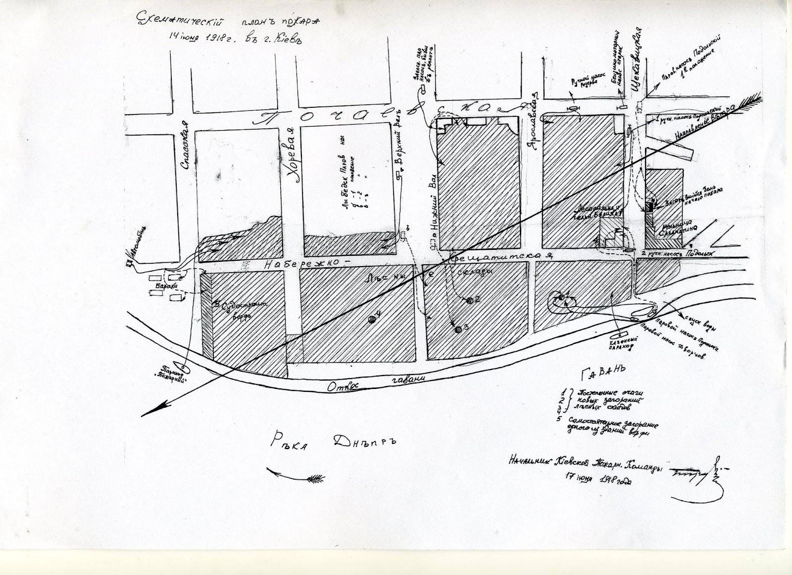 Схематичний план пожежі в Києві 14 червня 1918 року з відмітками кількох місць нових загорянь