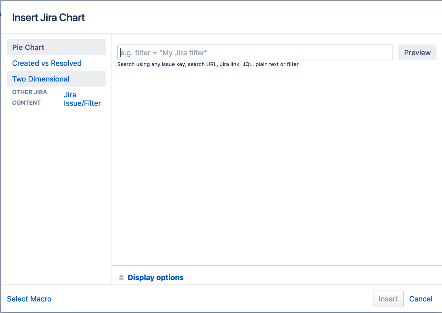 Jira charts in Confluence macro browser