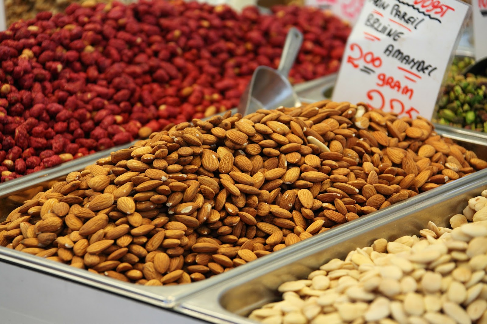 almonds in a bin