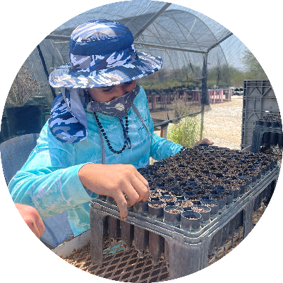 Izaiyah - A young man wearing a blue rimmed hat and a face mask planting seeds in a planter.