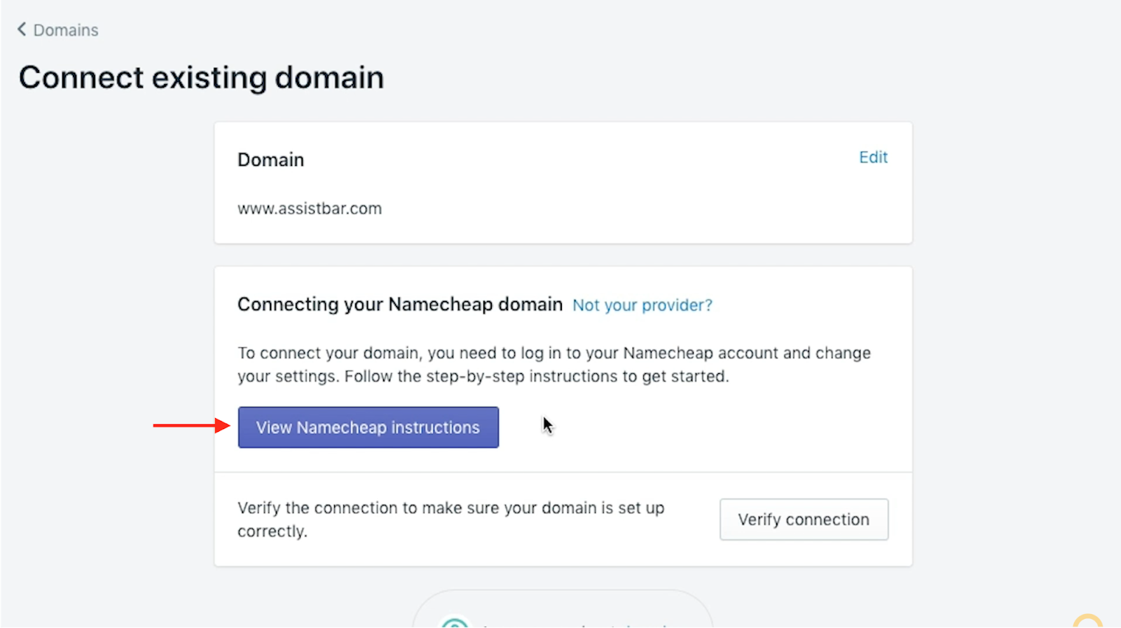 Connect your current domain
