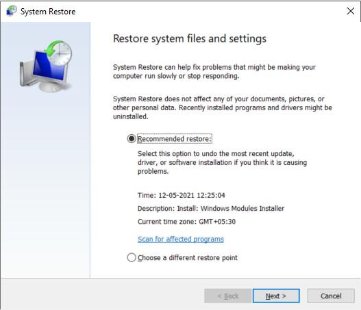 System Restore main dialog box