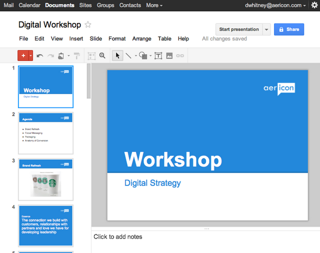 aericon slide deck in the cloud with google presentations