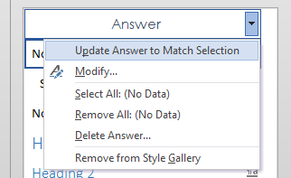 Update Answer Style to Match Selection