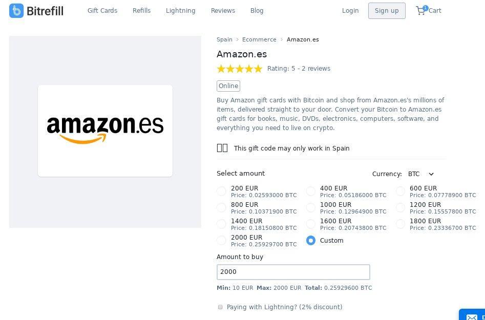 commercio amazon carta regalo per bitcoin