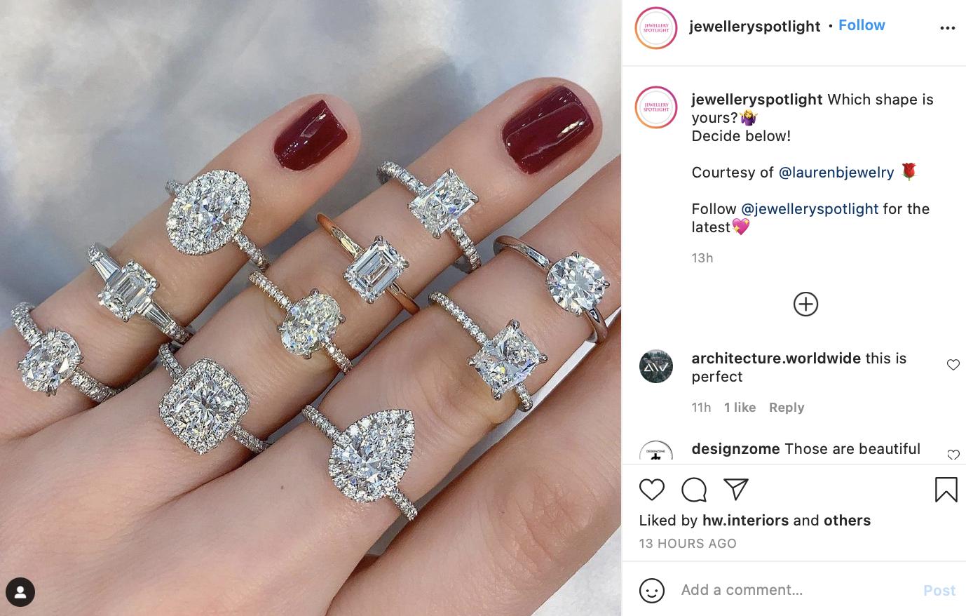 Instagram post of several diamond rings