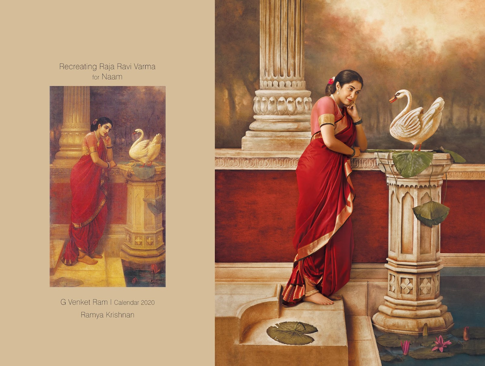 South Indian Actresses Portrait Raja Ravi Varma's Painting in G Venket Ram's Calendar 2020 Navel Queens