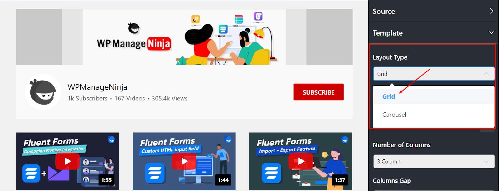 youtube feed layout type