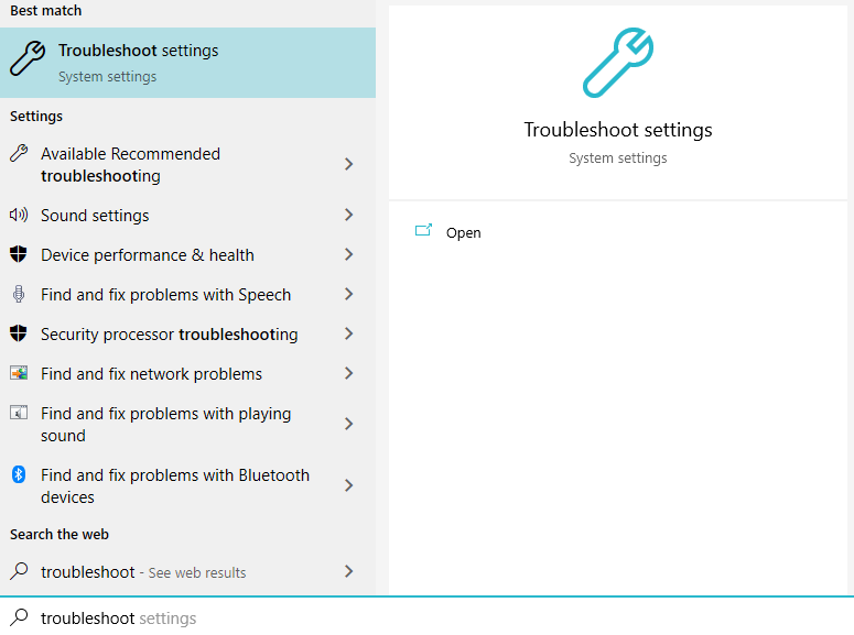 type in troubleshoot in the searchbox