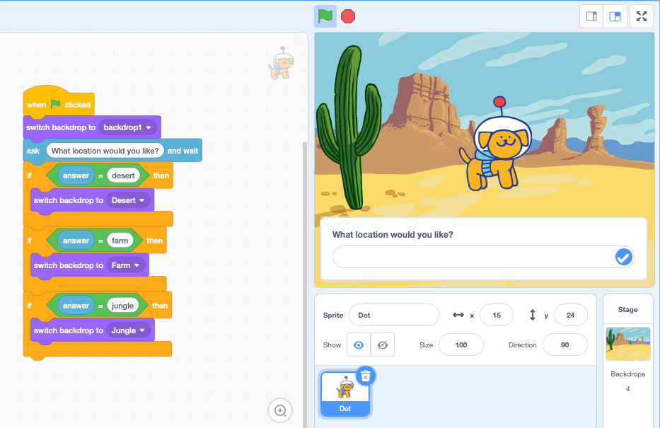 Our finished first Scratch project stage and code script
