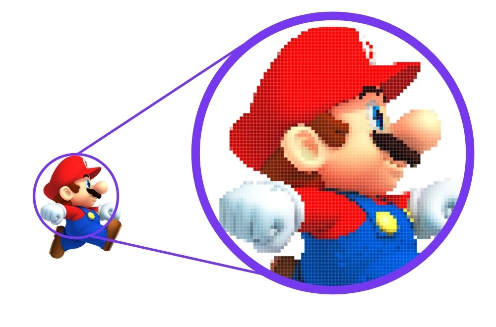 Pixels become visible when you zoom in on an image
