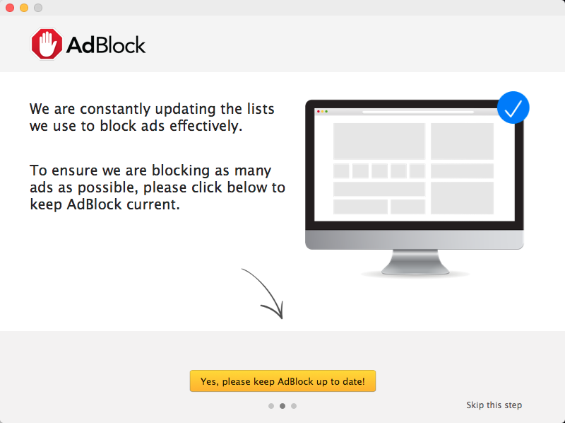 Second setup screen in the AdBlock for Safari app