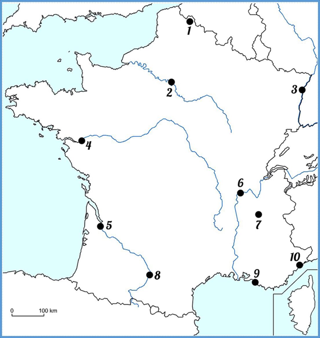 Carte De France Avec Dix Plus Grandes Villes Francaises