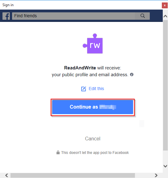 Facebook permissions page