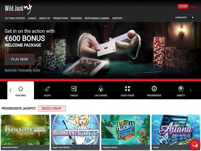 Wild Jack Online Casino Home Page