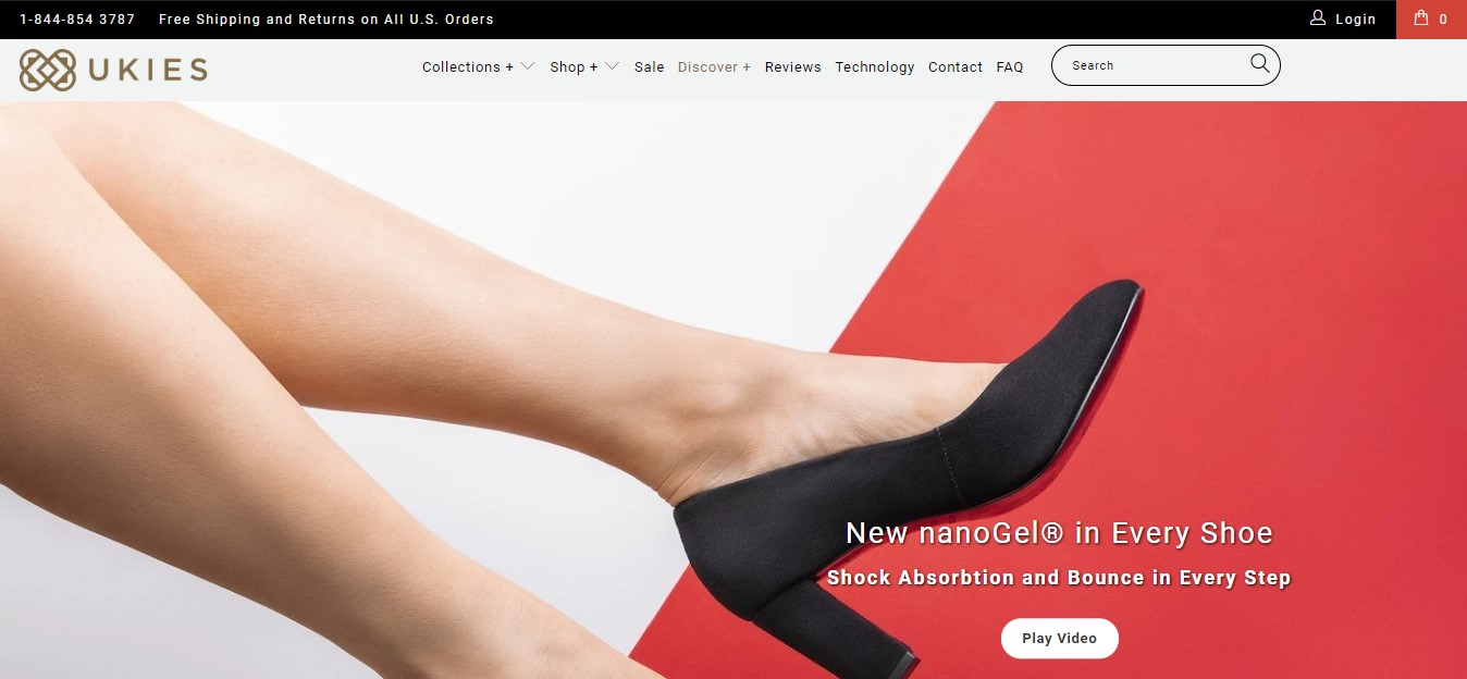 UKIES's landing page - woman's leg in a back shoe on a white and red background