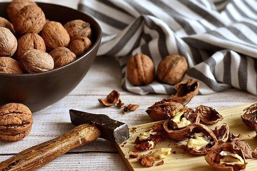 Walnuts, Cracked, Hammer, Rustic, Food