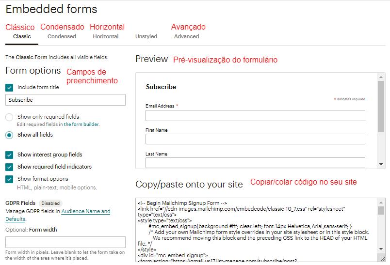 incorporar formulários de cadastro usando HTML