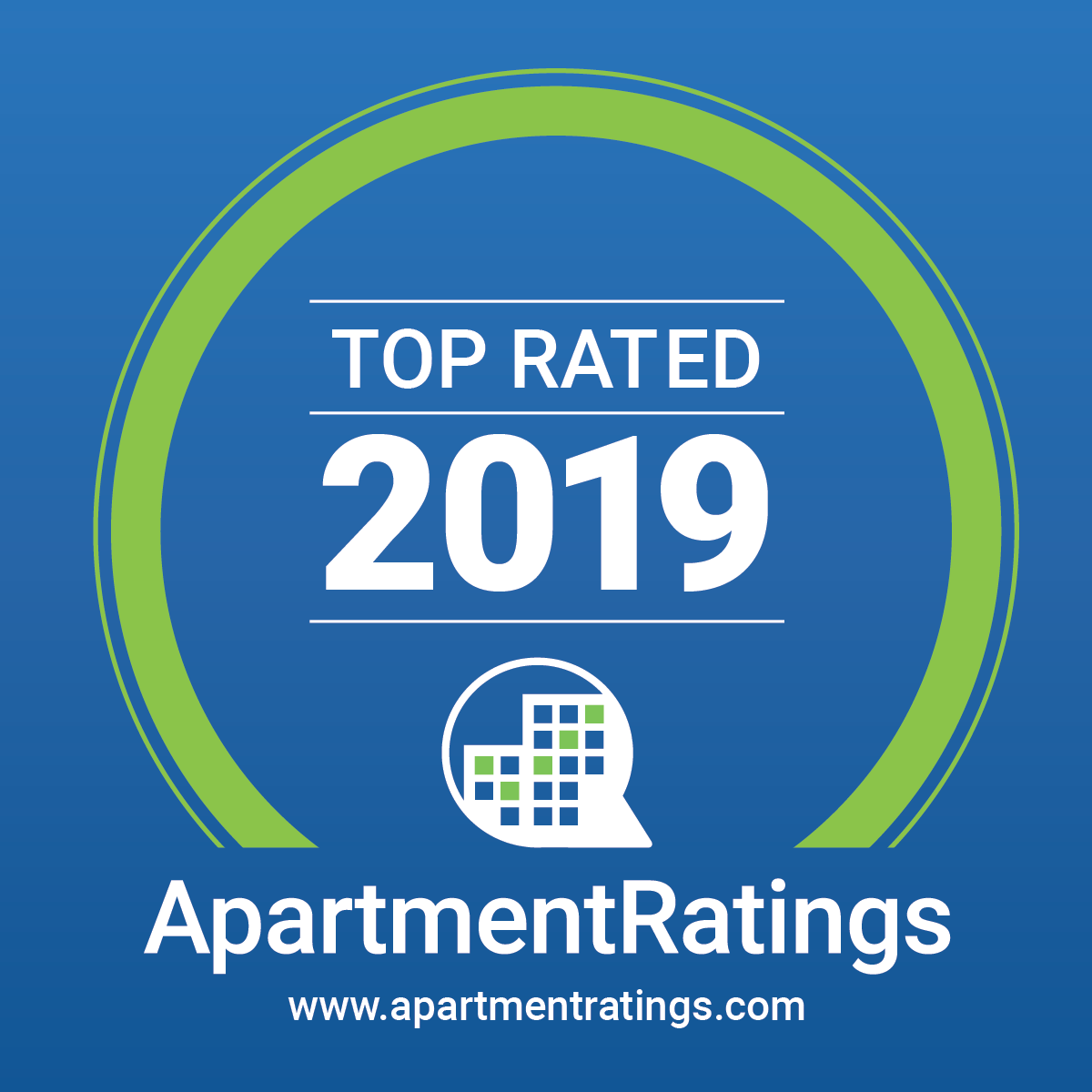 A badge for Top Rated Apartments 2019 awards.