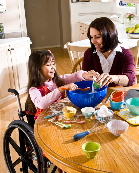 mormon mom and child baking