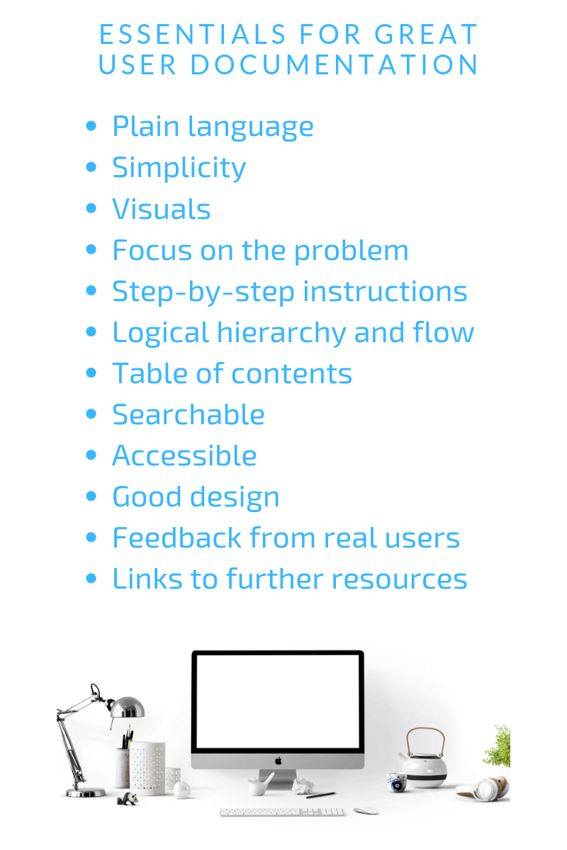Essential elements for great documentation. They are plain language, simplicity, visuals, focus on the problem, step-by-step instructions, logical hierarchy and flow, table of contents, searchable, accessible, good design, feedback from real users, and links to further resources.