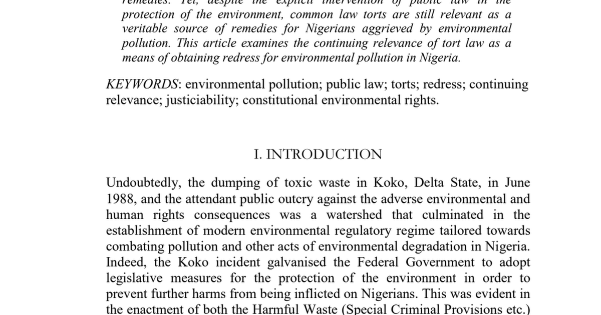 environmental pollution relevance