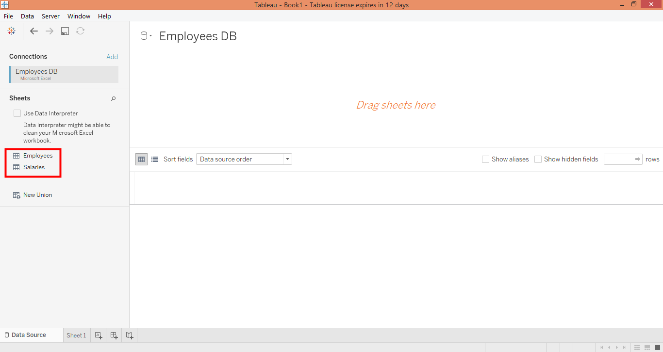 drag the table in tableau join