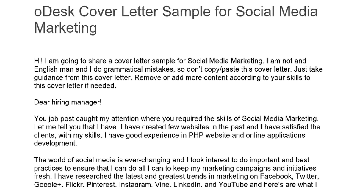 Social Media Cover Letter from lh4.googleusercontent.com