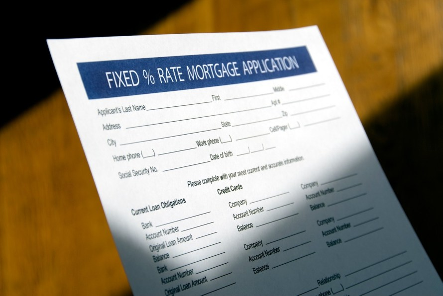 an application for a fixed percentage rate mortgage application