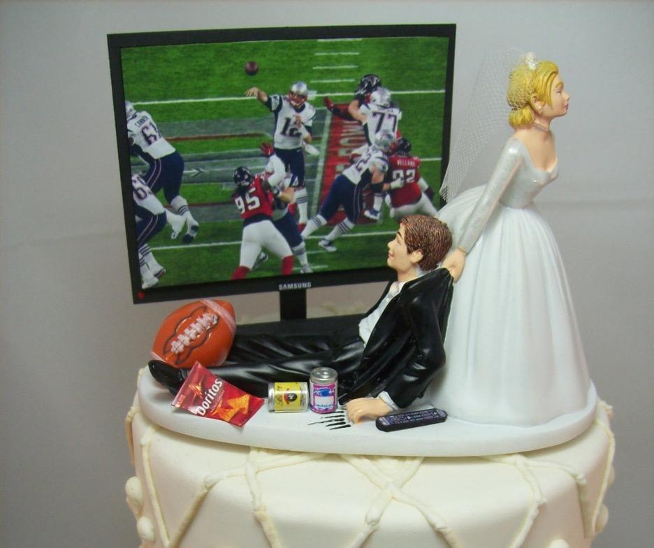 football junkie wedding cake topper