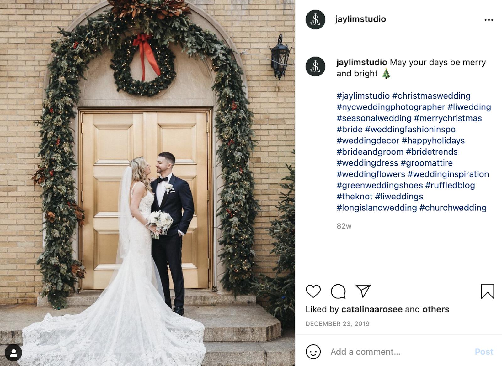holiday wedding celebration Instagram photo
