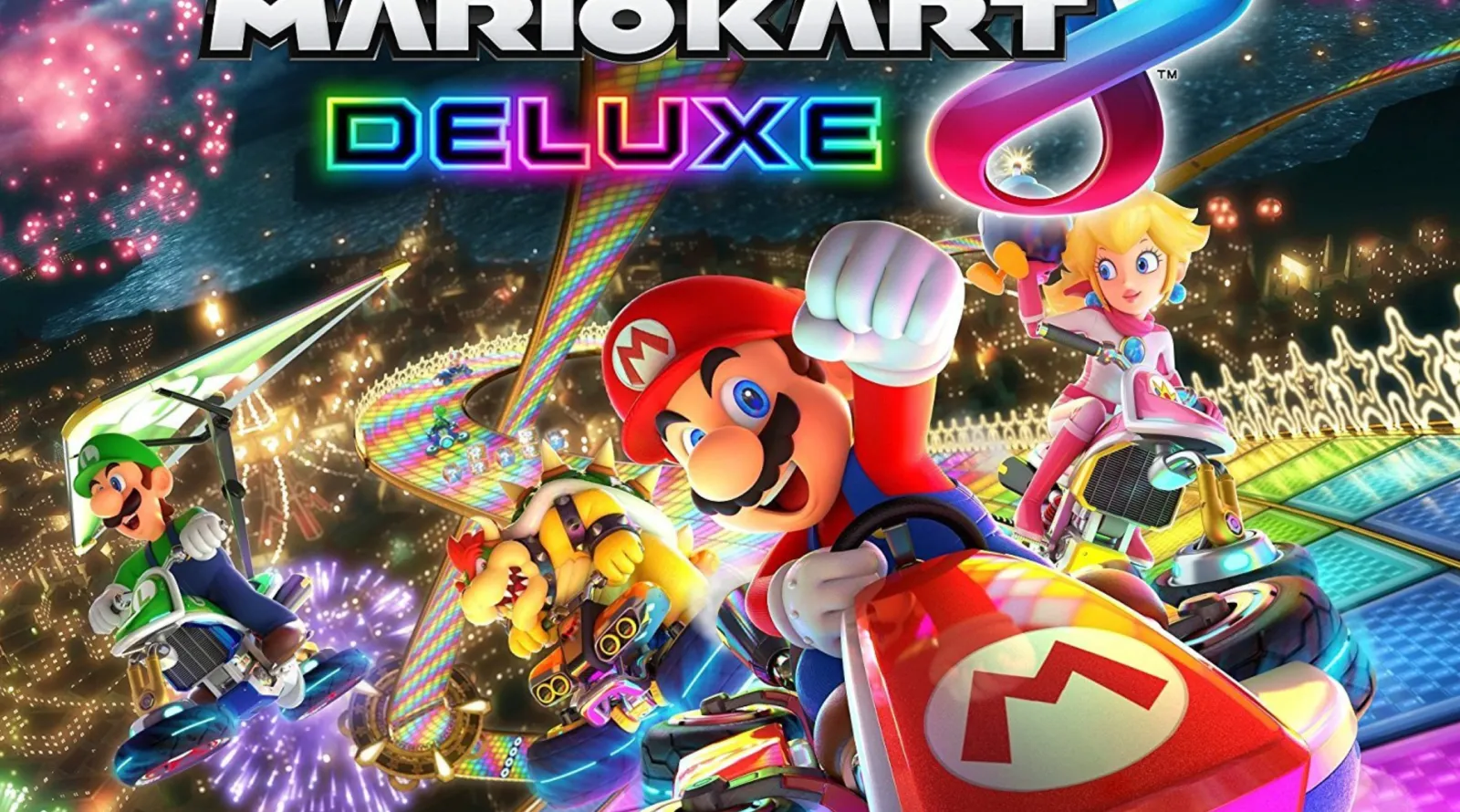 Mario appears in a red cart alongside other characters under the title Mario Kart