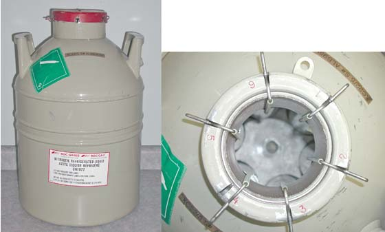 Semen/embryo storage tank with a LN2 capacity of 22 liters and holding time of 40 days.