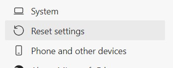 select Reset Settings