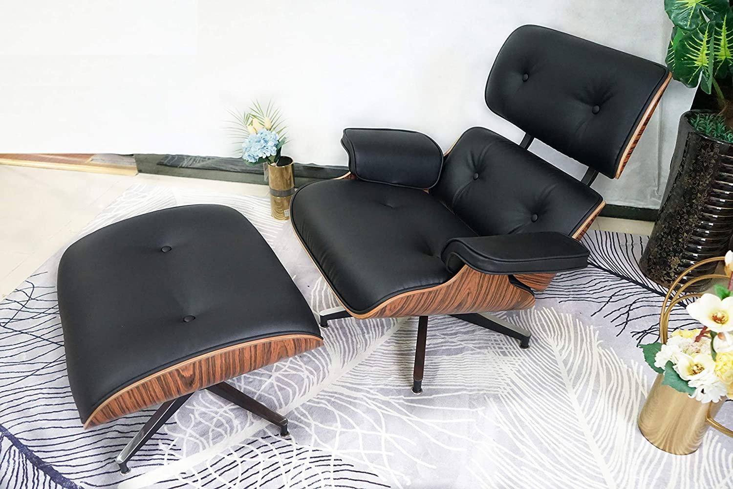 comfortable reading black chair and ottoman